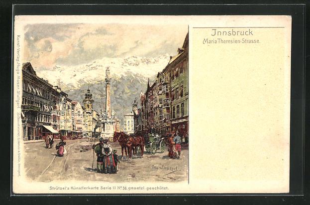Künstler-AK Otto Strützel: Innsbruck, Maria-Theresien-Strasse 0