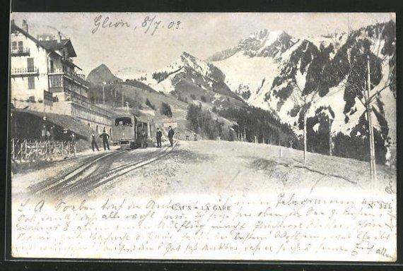 AK Caux, La Gare, Bergbahn 0