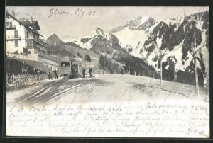 AK Caux, La Gare, Bergbahn