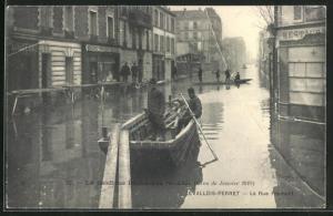 AK Levallois-Perret, La Rue Fromont, Hochwasser 1910