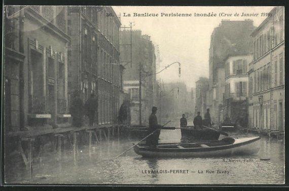 AK Levallois-Perret, La Rue Rivay, Hochwasser 1910 0