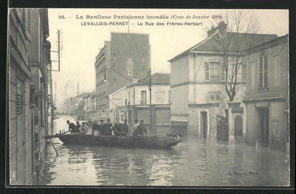 AK Levallois-Perret, La Rue des Frères-Herbert, Hochwasser 1910 0