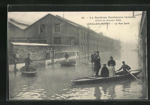 AK Levallois-Perret, La Rue Cavè, Hochwasser 1910 0