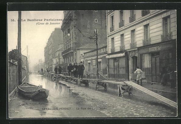 AK Levallois-Perret, La Rue de Courcelles, Hochwasser 1910 0