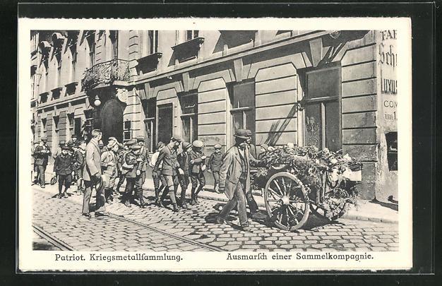 AK Wien, Ausmarsch einer Sammelkompanoie zur Kriegsmetallsammlung, Kriegsnot 0