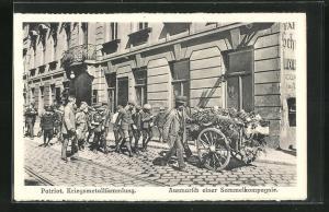 AK Wien, Ausmarsch einer Sammelkompanoie zur Kriegsmetallsammlung, Kriegsnot
