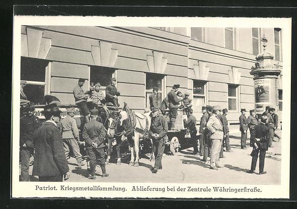 AK Wien, Kriegsmetallsammlung, Ablieferung bei der Zentrale Währingerstrasse, Kriegsnot 0