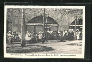 AK Wien, Unentgeltliche Brotverteilung des Kaiser Jubiläums-Vereines, Kriegsnot