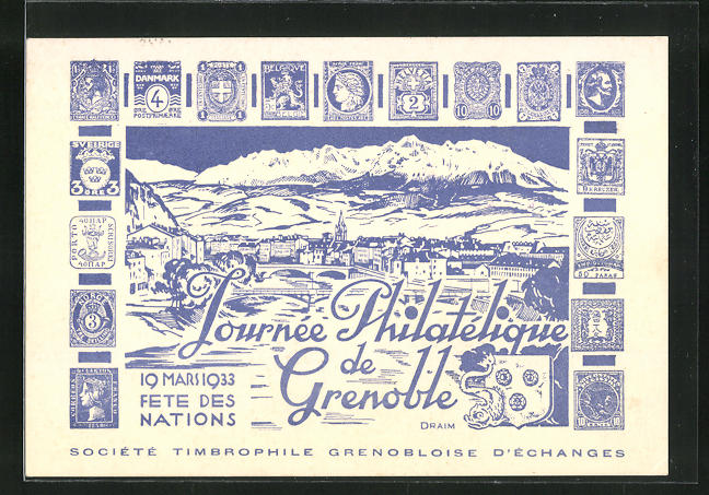 AK Grenoble, Tournee Philatèlique, Ausstellung 1933 0