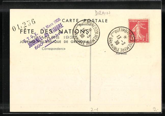 AK Grenoble, Tournee Philatèlique, Ausstellung 1933 1