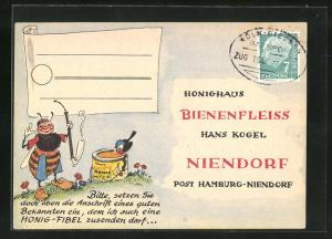 AK Niendorf, Geschäftskarte Honig-Haus Bienenfleiss Hans Kogel, Biene mit Pfeife, Imkerei