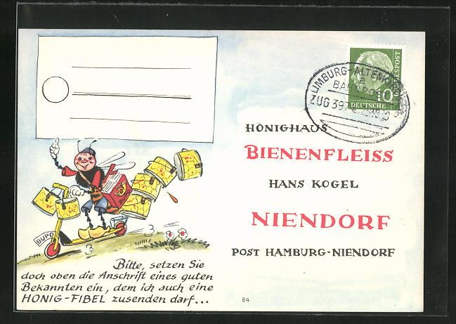 AK Niendorf, Geschäftskarte Honig-Haus Bienenfleiss Hans Kogel, Biene auf Roller, Imkerei 0