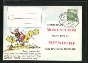 AK Niendorf, Geschäftskarte Honig-Haus Bienenfleiss Hans Kogel, Biene auf Roller, Imkerei