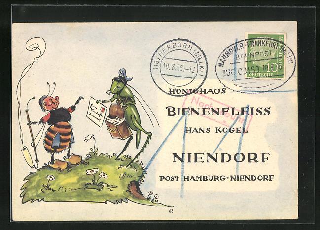AK Niendorf, Geschäftskarte Honig-Haus Bienenfleiss Hans Kogel, Biene empfängt Karte, Imkerei 0