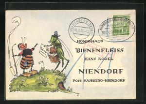 AK Niendorf, Geschäftskarte Honig-Haus Bienenfleiss Hans Kogel, Biene empfängt Karte, Imkerei