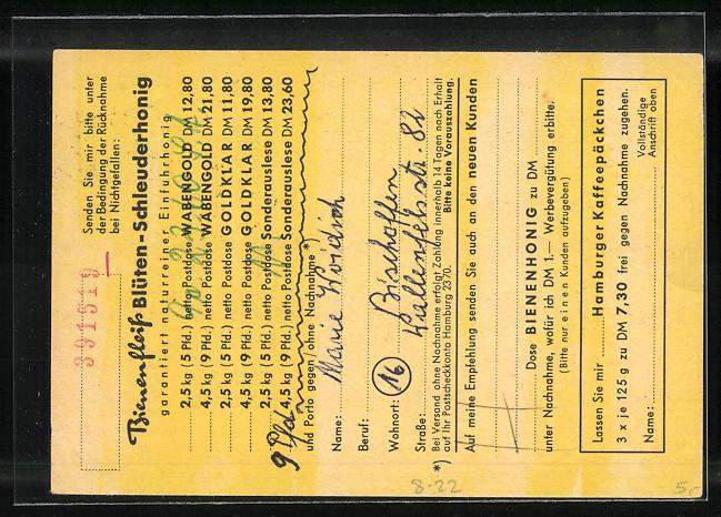 AK Niendorf, Geschäftskarte Honig-Haus Bienenfleiss Hans Kogel, Biene empfängt Karte, Imkerei 1