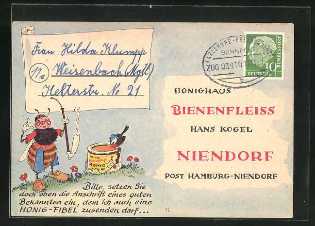 AK Niendorf, Geschäftskarte Honig-Haus Bienenfleiss Hans Kogel, Biene mit Pfeife, Imkerei 0