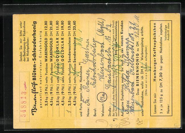AK Niendorf, Geschäftskarte Honig-Haus Bienenfleiss Hans Kogel, Biene mit Pfeife, Imkerei 1