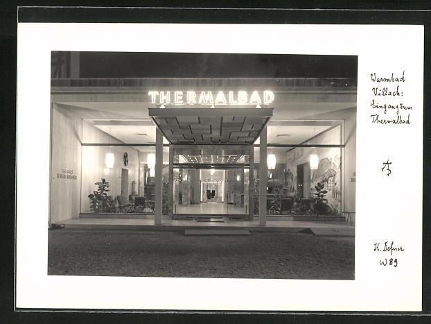 Foto-AK Adalbert Defner: Villach, Eingang zum Thermalbad 0
