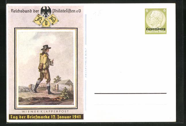 AK Wiener Klapperpost, Tag der Briefmarke 1941, Ganzsache 0