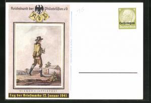 AK Wiener Klapperpost, Tag der Briefmarke 1941, Ganzsache