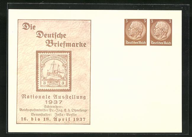 AK Berlin, Nationale Ausstellung Die Deutsche Briefmarke 1937, Ganzsache 0