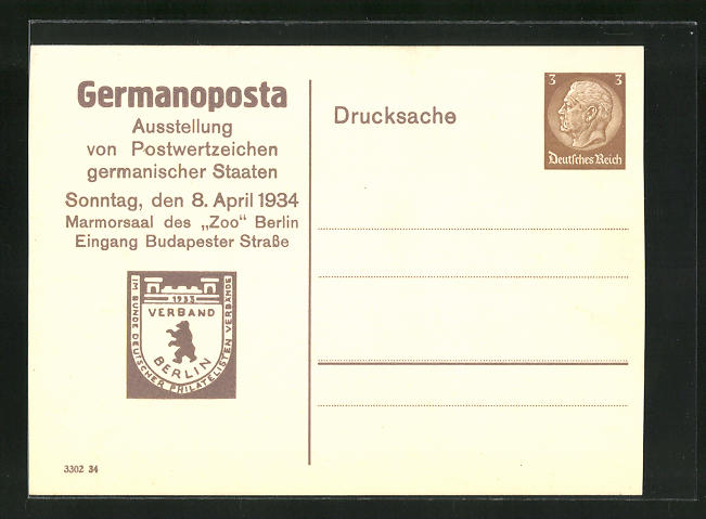 AK Berlin, Germanoposta-Ausstellung von Postwertzeichen germanischer Staaten 1934, Ganzsache 0