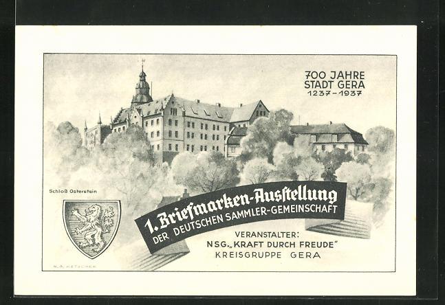 AK Gera, 1. Briefmarken-Ausstellung der Deutschen Sammler Gemeinschaft 1937, Ganzsache 0