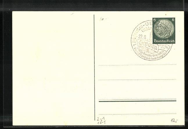 AK Gera, 1. Briefmarken-Ausstellung der Deutschen Sammler Gemeinschaft 1937, Ganzsache 1