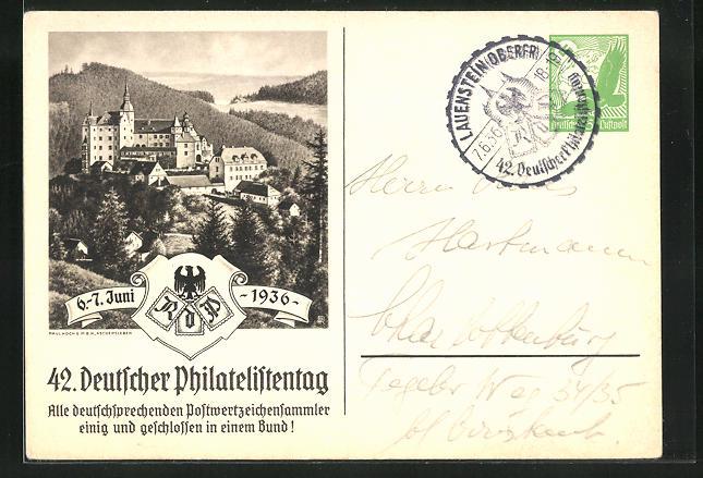 AK Lauenstein, 42. Deutscher Philatelistentag 1936, Blick zum Schloss, Ganzsache 0