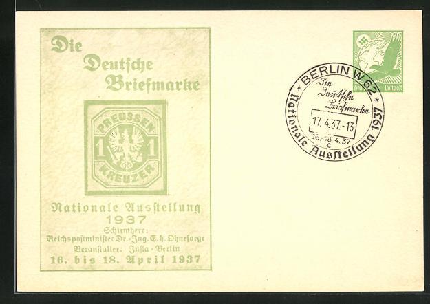 AK Berlin, Nationale Ausstellung Die Deutsche Briefmarke 1937, 1 Kreuzer-Marke, Ganzsache 0