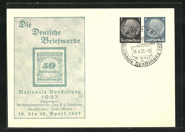 AK Berlin, Nationale Ausstellung Die Deutsche Briefmarke 1937, 50 Milliarden-Marke, Ganzsache 0