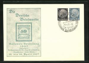 AK Berlin, Nationale Ausstellung Die Deutsche Briefmarke 1937, 50 Milliarden-Marke, Ganzsache