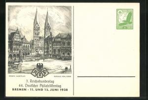 AK Bremen, 44. Deutscher Philatelistentag 1938, Marktplatz mit Rathaus und Börse, Ganzsache