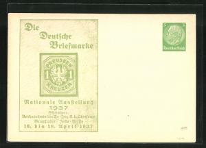 AK Berlin, Nationale Ausstellung Die Deutsche Briefmarke 1937, 1 Kreuzer-Marke, Ganzsache