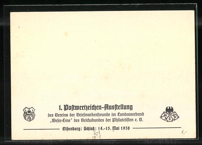 AK Bremen, 44. Deutscher Philatelistentag 1938, Marktplatz mit Rathaus, Dom und Börse, Ganzsache 1