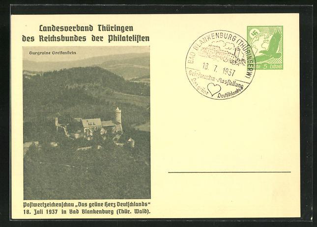 AK Bad Blankenburg, Postwertzeichenschau Das grüne Herz Deutschlands 1937, Burgruine Greifenstein, Ganzsache 0