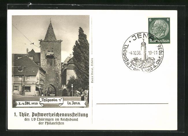 AK Jena, 1. Thüringische Postwertzeichen-Ausstellung 1936, Strassenpartie, Ganzsache 0