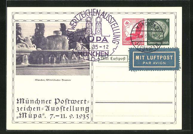 AK München, Postwertzeichen-Ausstellung Müpa 1935, Wittelsbacher Brunnen, Ganzsache 0