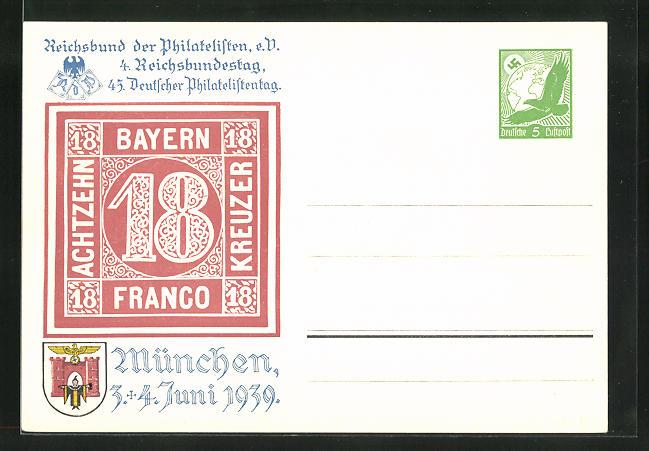 AK München, Ausstellung 45. Deutscher Philatelistentag 1939, 18-Kreuzer Marke, Ganzsache 0