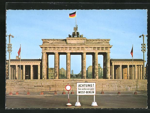 AK Berlin, Mauer am Brandenburger Tor, Grenze 0