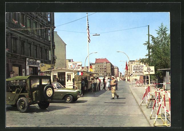 AK Berlin, Checkpoint Charlie-Passierstelle Friedrichstrasse an der Sektorengrenze 0