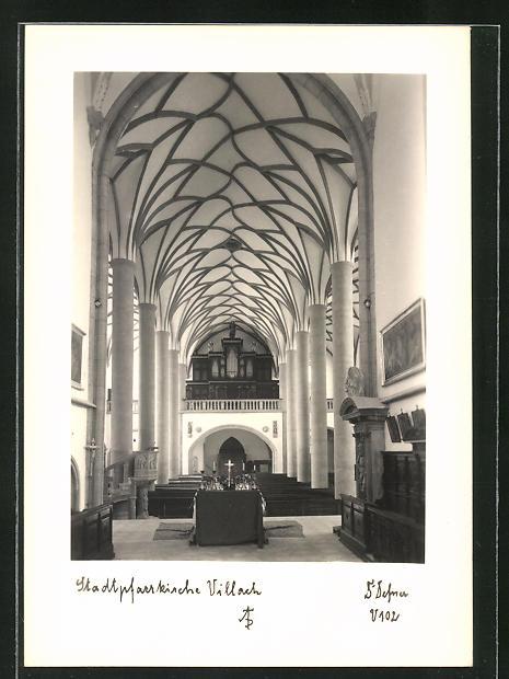 Foto-AK Adalbert Defner: Villach, Inneres der Stadtpfarrkirche 0