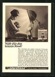 AK Reklame Höhensonne-Hilfe für das blasse Kind, Medizin