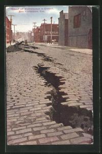 AK San Francisco, Ca., Result of Earthouake in Street, Erdbeben