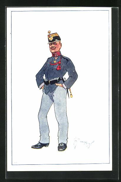 Künstler-AK Fritz Schönpflug: Ein Soldat in Uniform 0