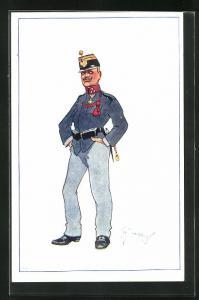 Künstler-AK Fritz Schönpflug: Ein Soldat in Uniform