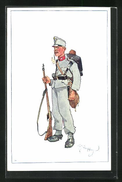 Künstler-AK Fritz Schönpflug: Soldat in Uniform mit Waffe und Sturmgepäck 0