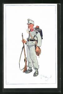 Künstler-AK Fritz Schönpflug: Soldat in Uniform mit Waffe und Sturmgepäck