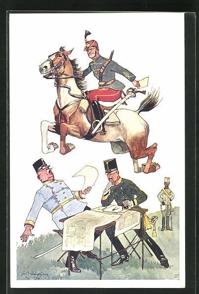 Künstler-AK Fritz Schönpflug: Soldat zu Pferde beim Sprung 0